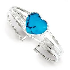 Sterling Silver Simulated Turquoise Heart Cuff Bracelet Bangle (€53) ❤ liked on Polyvore featuring jewelry, bracelets, sterling silver, hinged bracelet, turquoise cuff bracelet, sterling silver cuff bracelet, cuff bracelet and sterling silver jewelry