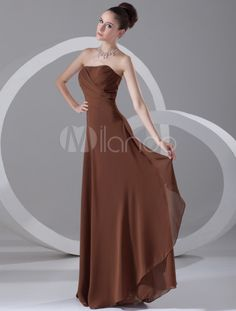 strapless brown chiffon evening gown