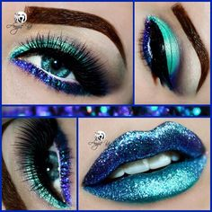 """""""Look of the Day using for EYES: @litcosmetics """"Disco Diva"""" & """"Peacock"""" glitters; @makeupgeekcosmetics """"Afterglow"""" pigment & """"Drama Queen"""" eyeshadow;…""""                                                                                                                                                                                 Mais"""