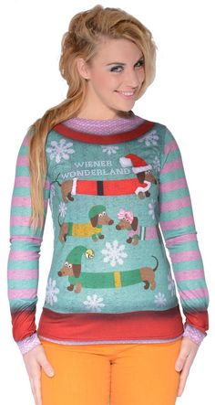 Wiener Wonderland Ugly Holiday Sweater Long Sleeve T-Shirt