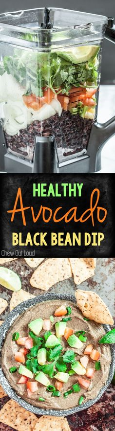 Healthy Avocado Black Bean Dip. Big, bold flavors. So easy. #avocado #dip
