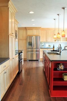 Kitchen Cabinets Include Natural Birch Shaker Door And Custom Red Painted Island Supplied By