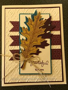 Thank you card using the Boho Chici embossing folder, Vintage Leaves stamp set, Leaflet Framelit and Endless Thanks stamp set, stampwithpeggy.com
