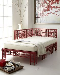 "Home Interior Design — ""Dallan"" Daybed by Red Egg at Horchow. Asian Furniture, Chinese Furniture, Furniture Design, Oriental Furniture, Plywood Furniture, Bed Furniture, Chair Design, Design Design, Furniture Ideas"