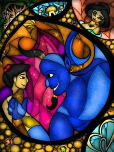 Aladdin, Jasmine and the Genie Stained Glass - Aladdin