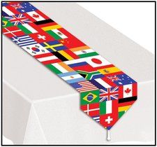 International Party Tablerunner. A great way to decorate any international theme table! Find it at http://www.ezpartyzone.com/pd-international-party-tablerunner.cfm