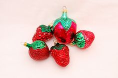 Vintage Red Strawberries and Raspberries Blown Glass Christmas Tree Ornaments 1960's - West Germany - Columbia - Red Fruit Lot of 5