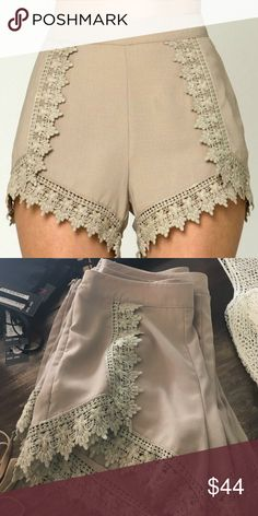 Cream Lace Shorts High waisted crisp cream with lace detailing Loveriche Shorts