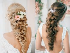 Beautiful twisted braids for brides with long hair   长发新娘 蓬松卷编发
