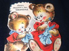 Fun Vintage Childrens Greeting Card 1948 Hallmark Grandma Bear Teaching Sewing | eBay
