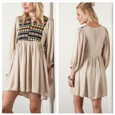 Tribal Print Tunic Dress - S M L  Tribal Aztec Print Tunic Dress can be worn with or without leggings. Color: Beige. Sizes: S, M, L Dresses