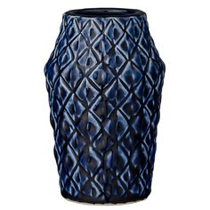 This vase by Bloomingville is ideal for all types of cut flowers! The vase is made of ceramic with a diamond pattern and a lovely dark blue glaze. It fits the most homes and environments and becomes a nice splash of color. Choose from different sizes. Navy Home Decor, Home Decor Vases, Design Vase, Deco Design, Design Online Shop, Pineapple Vase, Contemporary Vases, Vases For Sale, Vestibule
