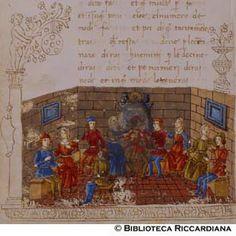 Ricc. 2669, FILIPPO CALANDRI, Trattato di aritmetica Sec. XV, fine; Firenze; bottega di Boccardino il vecchio.  Svaghi di una brigata di uomini e donne, c. 116v