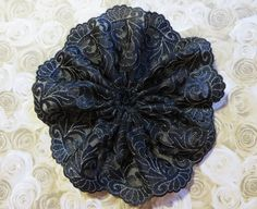 Handmade Gold on Black Embroidered Tulle Lace by ElegantDoily
