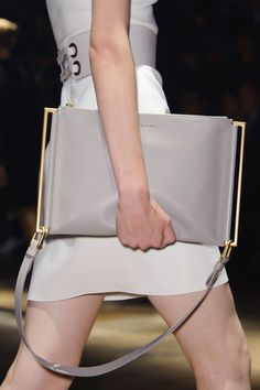 Minimal Accessories // Lanvin at Paris Spring 2015, grey leather clutch