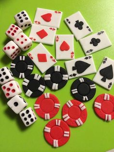 24 casino cupcake toppers adult edible fondant cake topper decorations dice cards poker bachelorette party adult men ladies by InscribingLives (26.99 USD) http://ift.tt/1LTNBHa