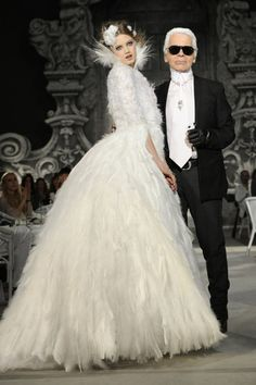 Lindsey Wixson and Karl Lagerfeld  Chanel Haute Couture
