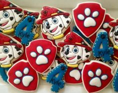 Paw Patrol cookies two dozen by LuxeCookie on Etsy Paw Patrol Birthday Cake, Paw Patrol Cake, Paw Patrol Party, Birthday Cookies, Dinosaur Birthday, 4th Birthday, Birthday Ideas, Iced Cookies, Royal Icing Cookies