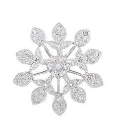 Crafted+of+rhodium-plated+pewter+and+sparkling+crystals+made+with+SWAROVSKI+ELEMENTS,+this+modern+pin+adds+a+touch+of+interest+to+any+ensemble.