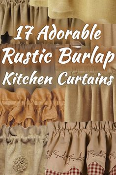 17 Adorable Rustic Burlap Kitchen Curtains. Article by HomeDecorBliss.com #HDB #HomeDecorBliss #homedecor #homedecorideas