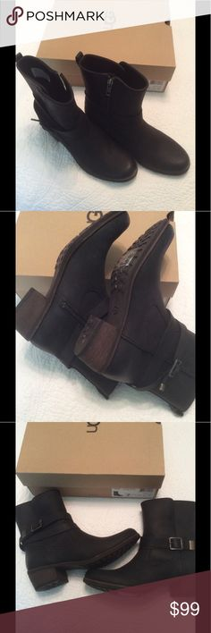 NWT Ugg Black Lorraine Boots These beautiful black Western - inspired boots were made from rich water resistant leather and lined with cozy genuine shearling. They have a 1 3/4 inch heel. They come with their original box. Selling now on Amazon for $195 UGG Shoes Ankle Boots & Booties