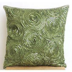 "Green Spiral Throw Pillows Cover, 20""X20"" Silk Pillowcase - A Touch Of Envy"