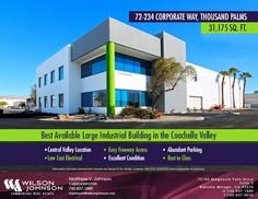 JUST SOLD! - Gorgeous Industrial Building Approx. 31,175 SF on Corporate Way, Thousand Palms - Matt Johnson (CalBRE 00927239) - Call for Details at 760-837-1880. #wjcre #thousandpalms #commercialrealestate #coachellavalleyrealestate