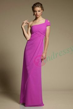 Buy cheap Discount Sheath One Shoulder Ruched Chiffon Long Wedding Bridesmaid Dresses Under $ 100 under $96.99 only in Findressy.