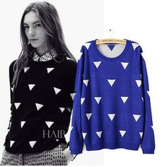 Triangle Pattern Knitted Fall Sweaters Autumn Winter New Woman Sweater