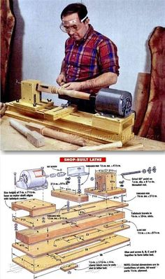 DIY Wood Lathe - Lathe Tips, Jigs and Fixtures - Woodwork, Woodworking, Woodworking Plans, Woodworking Projects Diy Lathe, Lathe Tools, Wood Tools, Wood Lathe, Into The Woods, Wooden Projects, Wood Crafts, Diy Crafts, Woodworking Jigs