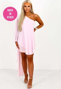 High Hopes Baby Pink Chiffon Asymmetric Drape Dress