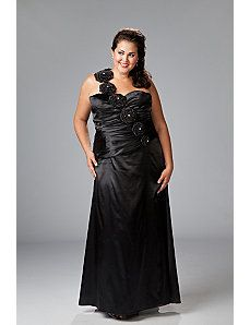 One-shoulder charmeuse satin with rosettes by Sydney's Closet