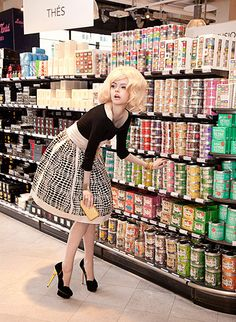 "Karen was happy to see that the cat food was conveniently located across from the alcohol aisle. ""The Supermarket"" - Fricote Magazine - Ernesta Petkeviciute, Natasha Belova and Anne Pecke - Michèle Bloch-Stuckens Supermarket Sweep, High Waisted Skater Skirt, Mode Rockabilly, Beauty Awards, Domestic Goddess, Poses, Barbie, Up Girl, Editorial Fashion"