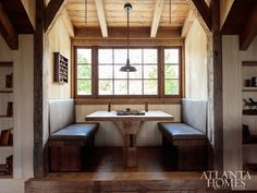 """The second-floor game room is a hub of post-hunt activity, whether relaxing by the fire, engaging in a game of pool or rehashing the day from custom-designed banquettes flanking a game table. Summerour sourced the granite slabs framing the fireplace from a nearby South Carolina quarry. """"We wanted to use stone from the site—preferably pieces that had already been quarried—and use them as vestiges,"""" says the architect."""