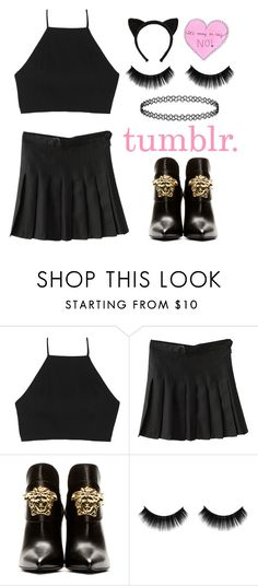 """tumblr ... (update) ♡"" by lapinrose ❤ liked on Polyvore featuring rag & bone, Versace, tumblr, versace, ragandbone and hottopic"