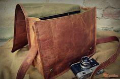 """Leather Satchel 16"""" / Hip Bag / Cross Body Bag / Shoulder Bag / Messenger Bag / Day Travel Bag / Handbag / iPad / Laptop Bag on Etsy, $89.00"""