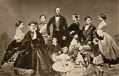 """ Queen Victoria and Prince Albert photographed with their nine children: Victoria, Princess Royal, German Empress Edward VII Princess Alice, Grand Duchess of Hesse Alfred, Duke of Saxe-Coburg and Gotha Helena, Princess Christian..."