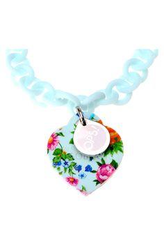 OPS OBJECTS สร้อยข้อมือรูปหัวใจพิมพ์ลายดอกไม้ - Blue   LAZADA THAILAND created by #ShoppingIS