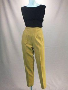 Vintage 1950s Sun Siren Capri Length Wool High Waist Cigarette Pants. $62.00, via Etsy. 1950s Party Dresses, Vintage Dresses, Vintage Outfits, Vintage Clothing, Women's Clothing, 1920s Fashion Women, 1950s Fashion, Vintage Fashion, Vintage Style