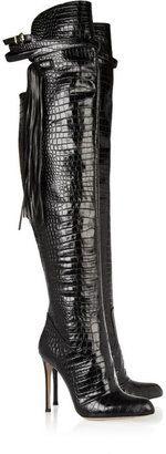 Altuzarra Tasseled croc-effect leather over-the-knee boots