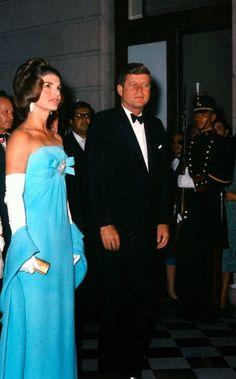 Jackie O, Kennedy, Blue Gown, White Gloves, Black tie affair