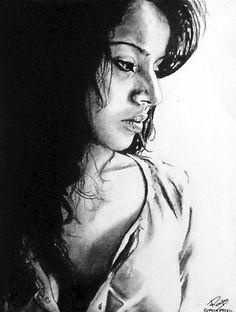"""Zoya"" ~ charcoal on paper ~ 30""x24"" ~ 2008 ~ www.rupeshpatric.com"