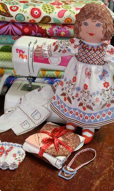 A Clothkits Original - Cloth Kitty Rag Doll Kit - Pink & Blue .  I had this when I was little!!