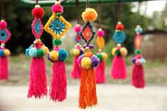 Hobbies And Crafts, Diy And Crafts, Pom Pom Bag Charm, Saree Tassels, Diwali Craft, Thread Jewellery, Passementerie, Handmade Accessories, Yarn Crafts
