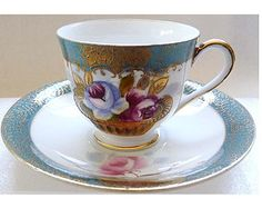 Remarkable 1930s Morimura Kumi Cabbage Rose Demitasse Porcelain Tea cup and Saucer Set FREE Shipping in USA
