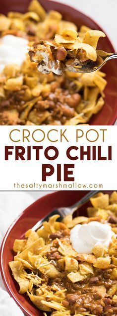 Crock Pot Frito Chili Pie:  This Frito chili pie recipe is a favorite classic comfort food made into an easy crockpot casserole! I love this easy dinner recipe that's full of ground beef chili, cheese, and corn chips!