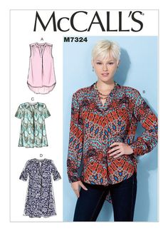 M7324 New top pattern from McCalls' featuring a half placket and sleeve variations.