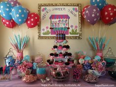 Pink, Teal and Purple CandyLand Theme Candy Buffet - Sweet Shop Maybe Isa's next birthday Pink Candy Buffet, Candy Table, Candy Land Theme, 3rd Birthday Parties, Birthday Ideas, Birthday Cakes, 2nd Birthday, Happy Birthday, Festa Party