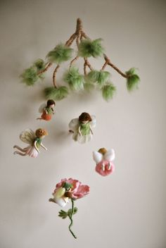 Spring mobile  Waldorf inspired needle felted dolls by MagicWool