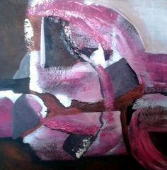 Abstract rose een uniek abstract schilderij in rose/bruine kleuren en structuur. Angelien Geerligs